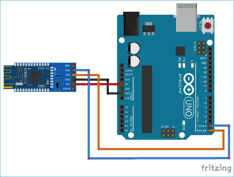 Схема подключения Bluetooth модуля HM-10 к плате Arduino