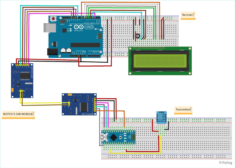 Схема проекта для связи между двумя платами Arduino с помощью протокола CAN и модулей MCP2515