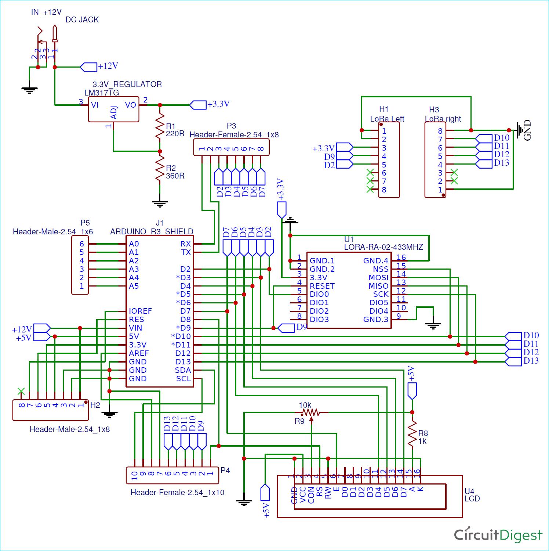 Схема шилда LoRa для платы Arduino
