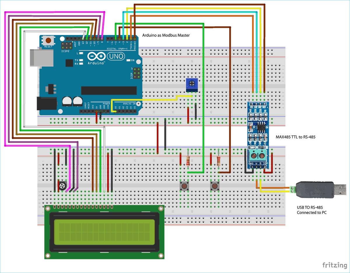 Схема для последовательной связи по протоколу Modbus RS-485 с платой Arduino (ведущей)