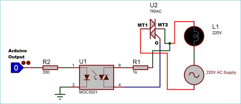 Схема соединения симистора и оптопары