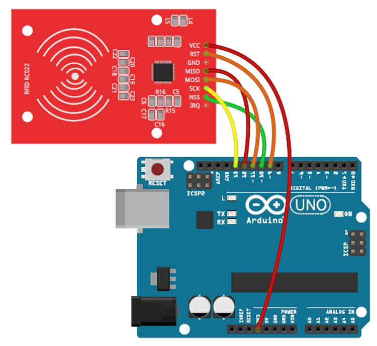 Схема подключения считывателя RFID меток RC522 к плате Arduino