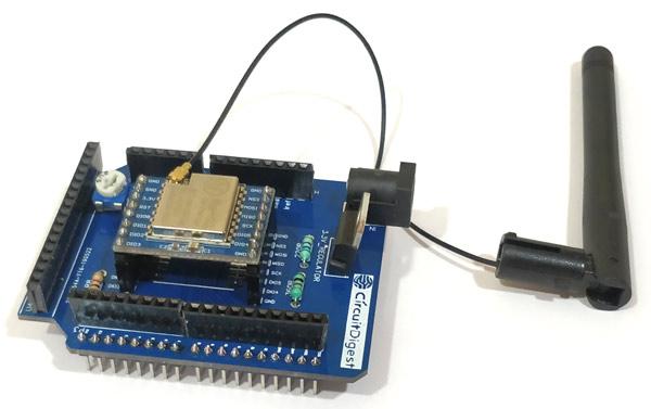 Внешний вид изготовленной конструкции шилда LoRa для Arduino
