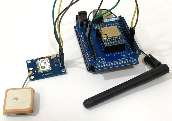 Внешний вид подключения GPS модуля к передающей части нашего трекера