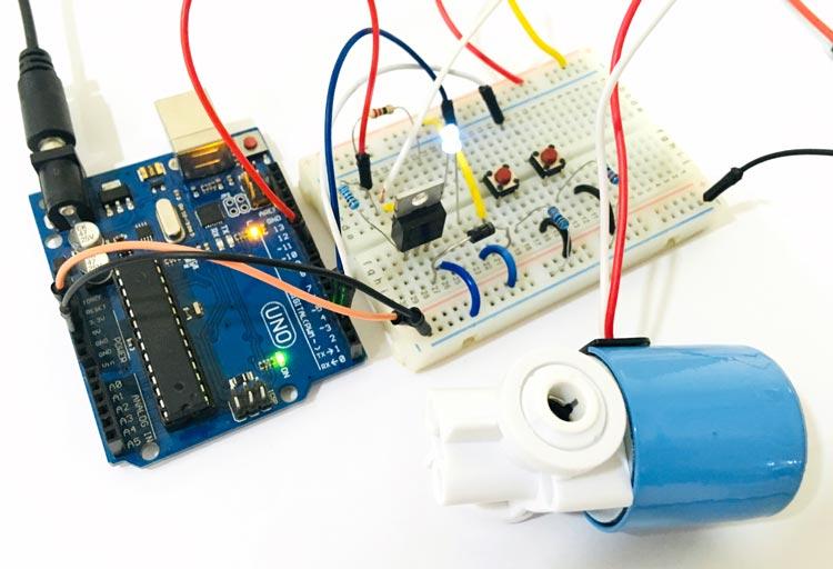 Внешний вид подключения соленоидного клапана к Arduino Uno