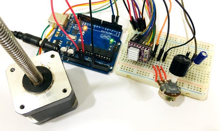 Внешний вид проекта управления шаговым двигателем NEMA 17 с помощью Arduino и драйвера DRV8825