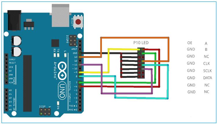 Схема подключения светодиодного дисплея P10 к плате Arduino