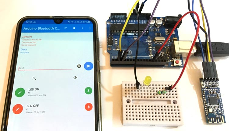 Внешний вид подключения Bluetooth модуля HM-10 к плате Arduino