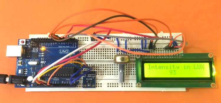 Внешний вид подключения датчика освещенности BH1750 к Arduino