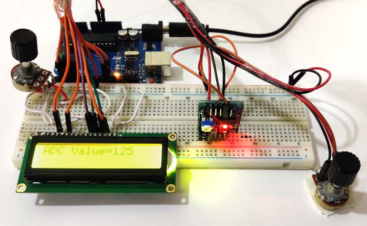 Внешний вид подключения АЦП/ЦАП модуля PCF8591 к Arduino