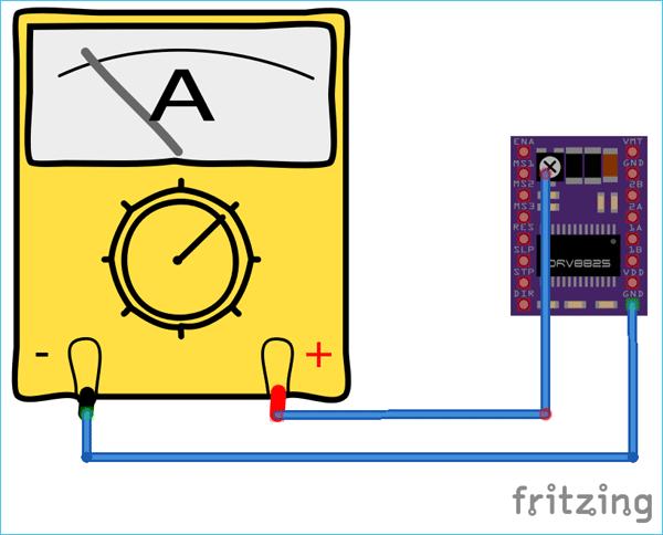 Схема для установки предела ограничения тока для модуля DRV8825
