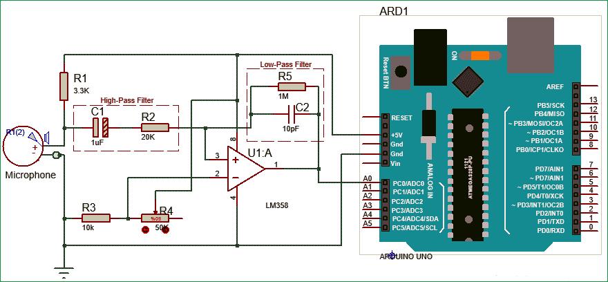 Схема усилителя звуковых частот на микросхеме LM358 с добавленными ФВЧ и ФНЧ