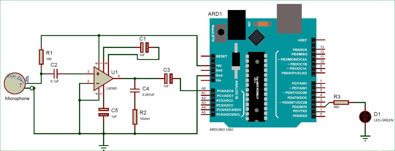 Схема измерителя уровня звука на основе платы Arduino и микрофона