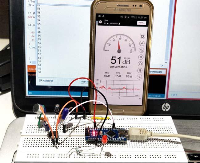 Внешний вид проекта измерения уровня звука (шума) в децибелах с помощью Arduino и микрофона