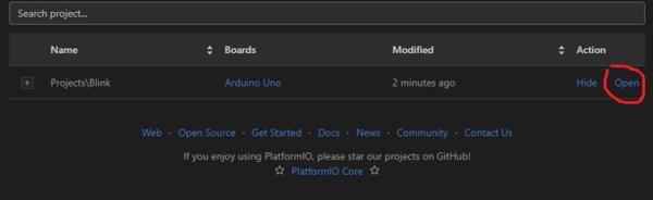 Переход к редактированию проекта в PlatformIO