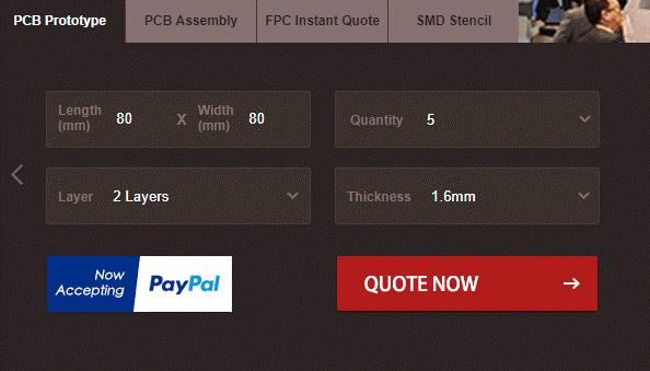 Ввод основных параметров печатной платы на сервисе PCBGOGO
