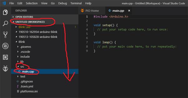 Открытие редактора кода в PlatformIO