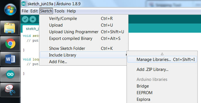 Открытие менеджера библиотек в Arduino IDE