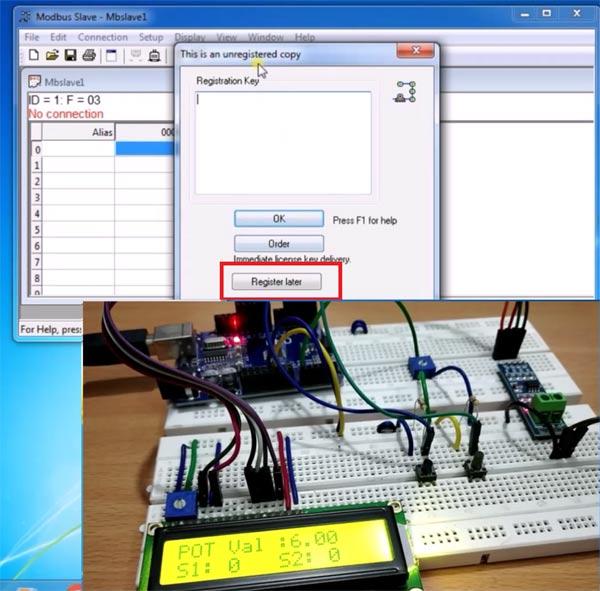 Окно для ввода регистрационного ключа в программе Modbus Slave