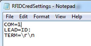 Редактирование файла RFIDCredSettings