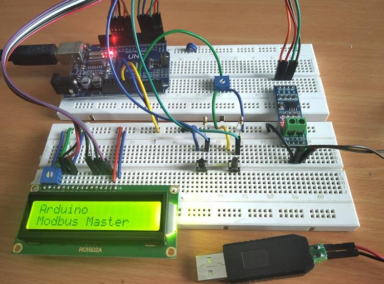 Внешний вид проекта последовательной связи по протоколу Modbus RS-485 с Arduino (ведущей)