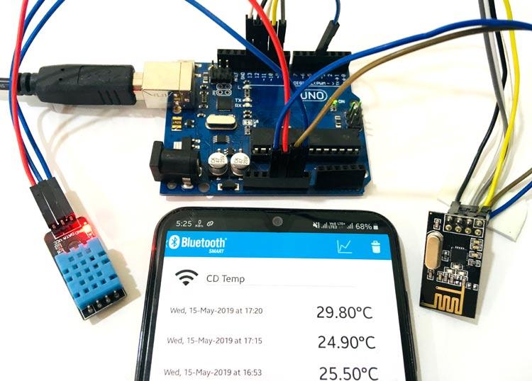 Внешний вид проекта для передачи данных на смартфон с помощью Arduino, модуля NRF24L01 и Bluetooth (BLE)