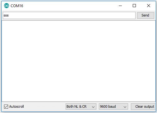 Печатаем символы 'SOS' в окне монитора последовательной связи