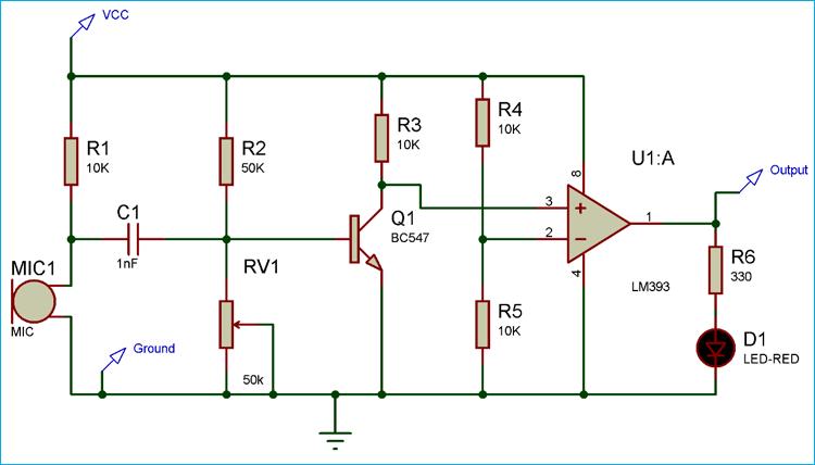 Схема модуля акустического датчика