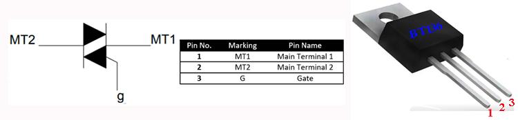 Внешний вид, обозначение на схемах и распиновка симистора BT136