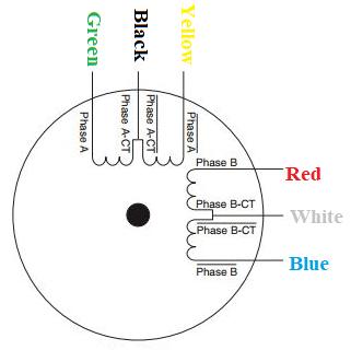 Схема расположения подводящих проводов двигателя NEMA17