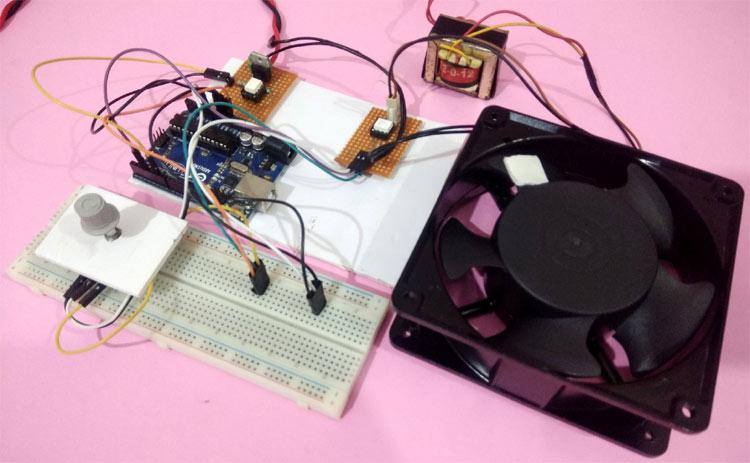 Внешний вид проекта управления скоростью вращения вентилятора с помощью Arduino и симистора
