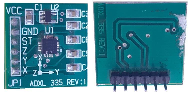 Внешний вид передней и задней частей акселерометра ADXL335