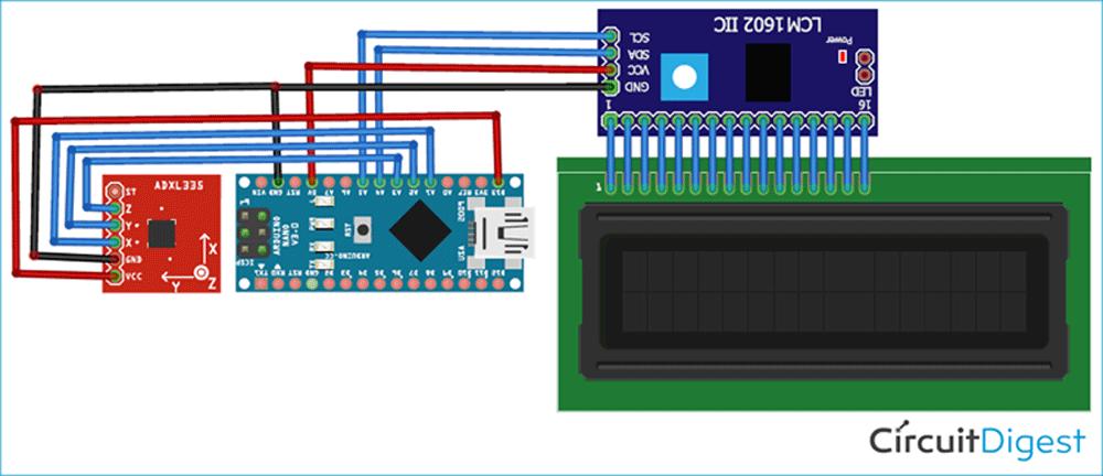 Схема шагомера на основе платы Arduino и акселерометра ADXL335