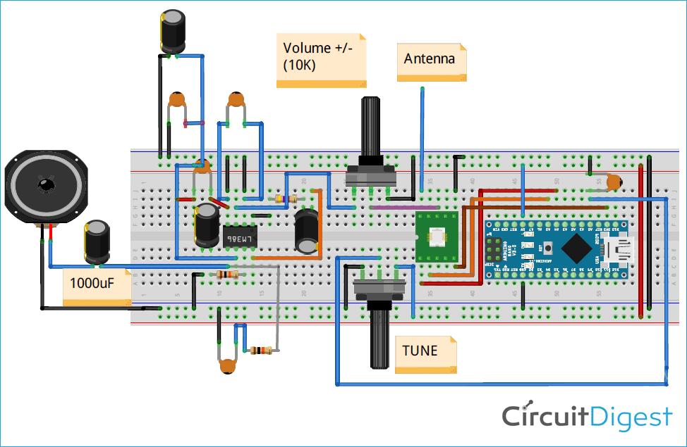 Схема FM приёмника на основе платы Arduino и модуля RDA5807
