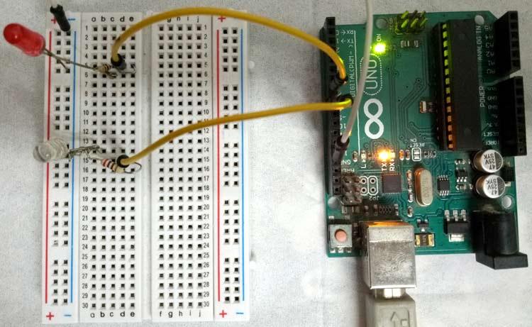 Внешний вид проекта для демонстрации возможностей FreeRTOS в Arduino