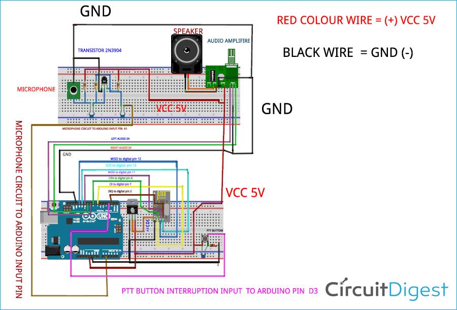 Схема радиостанции на основе платы Arduino и модуля nRF24L01