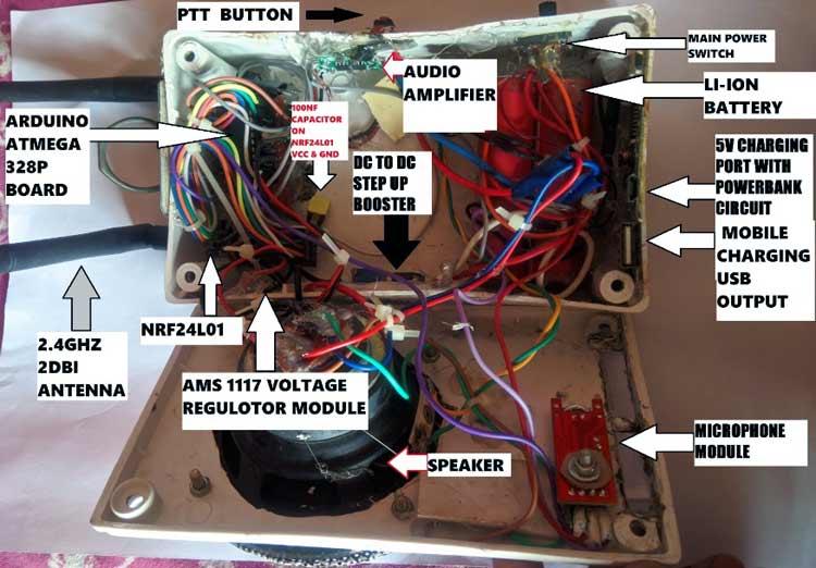 Размещение компонентов радиостанции в пластмассовом корпусе (вид сверху)