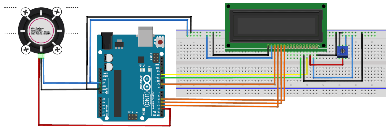 Схема подключения датчика расхода воды к плате Arduino Uno