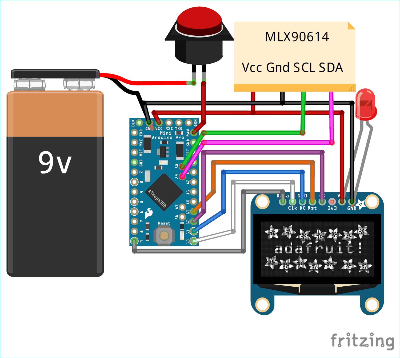 Схема бесконтактного термометра на основе платы Arduino и датчике температуры MLX90614