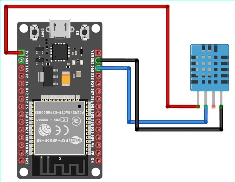 Схема подключения датчика DHT11 к микроконтроллеру ESP32