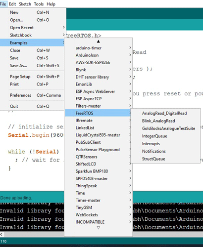 Примеры работы с FreeRTOS в Arduino IDE