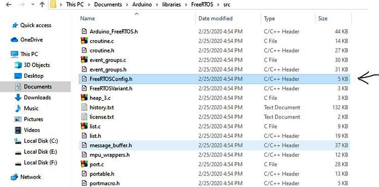 Местоположение файла FreeRTOSConfig.h на нашем компьютере