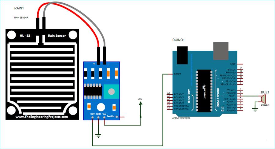 Схема подключения датчика дождя к плате Arduino Uno