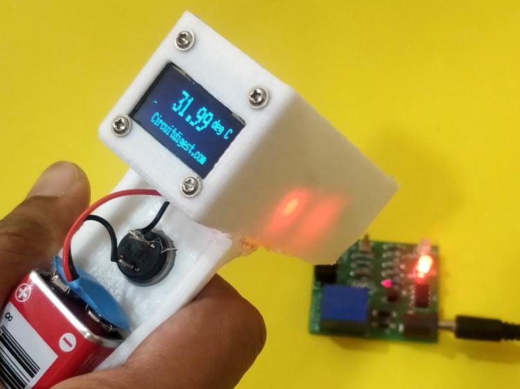Внешний вид бесконтактного инфракрасного термометра на Arduino и датчике температуры MLX90614