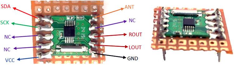 Использование перфорированной платы для подключения проводов к модулю RDA5807