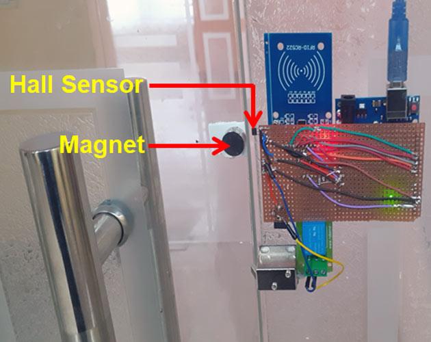 Схема расположения элементов нашего замка на двери