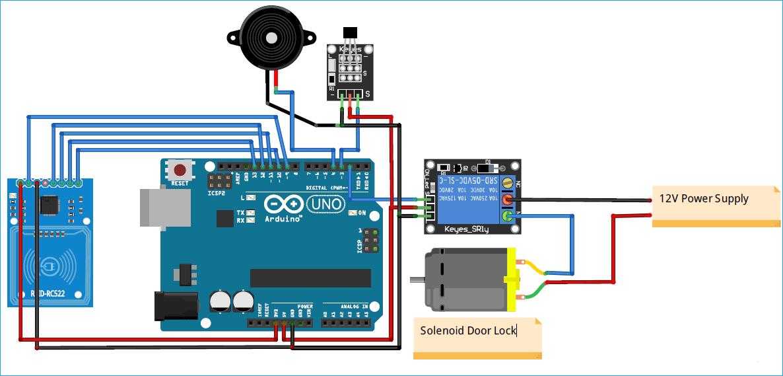 Схема замка с электромагнитным управлением на основе Arduino и радиочастотной идентификации