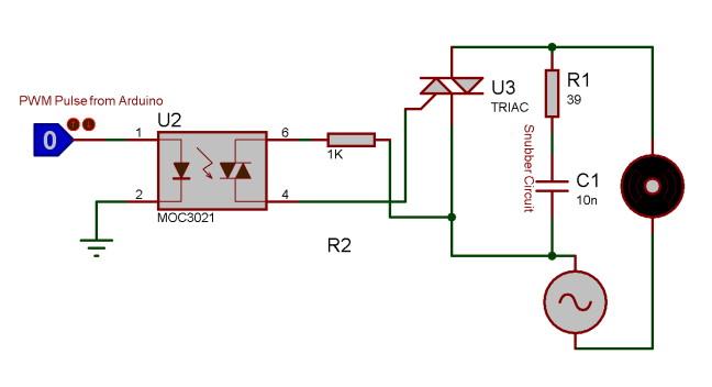 Схема соединения оптопары MOC3021 и симистора