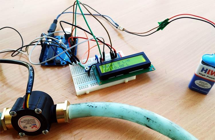 Внешний вид подключения датчика расхода воды к плате Arduino Uno