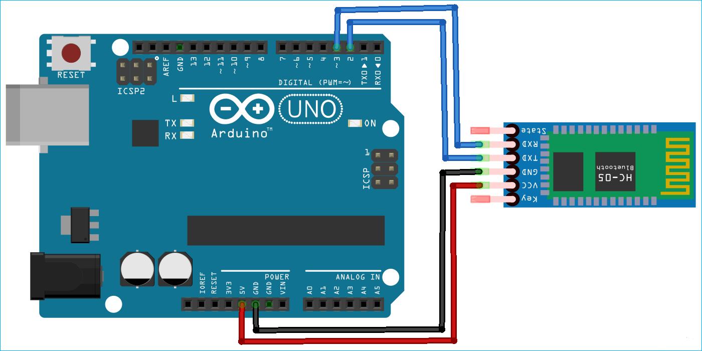 Подключения модуля HC05 к плате Arduino для ее работы в режима приема (и исполнения) AT команд